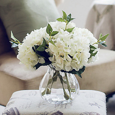 1 Branch Polyester Hydrangeas Tabletop Flower Artificial Flowers