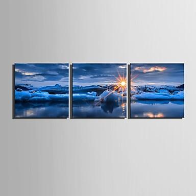 E-home® tuval 3 deniz dekorasyon boyama seti gündoğumu sanat gergin