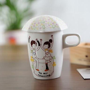 kreative Liebesgeschichte Keramiktasse mit Deckel Muster Zufalls