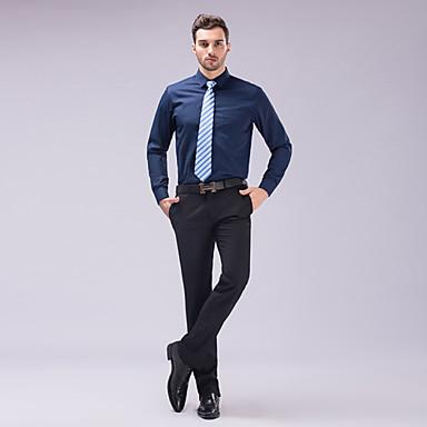 Homens Camisa Social Estiloso / Clássico / Básico Sólido Fino