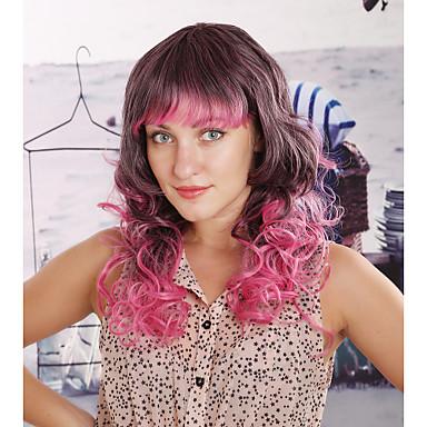 Women Synthetic Wig Wavy Rainbow Costume Wig
