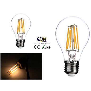 2 pièces ONDENN E26/E27 6 COB 600 LM Blanc Chaud A60(A19) edison Vintage Ampoules à Filament LED AC 100-240 / AC 110-130 V