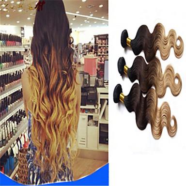 billige Parykker af ægte menneskerhår-3 Bundler Brasiliansk hår Krop Bølge 8A Menneskehår Menneskehår, Bølget Mørkebrun Guld Blonde Ombre Menneskehår Vævninger Menneskehår Extensions