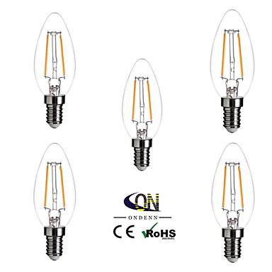 e14 a mené des ampoules de filament c35 2 cob 200lm blanc chaud 2800-3200k dimmable ac 220-240v