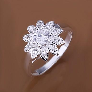Kadın's Bildiri Yüzüğü Gümüş Kaplama Moda Düğün Parti Günlük Kostüm takısı