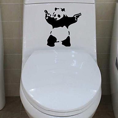 τοίχο αυτοκόλλητα αυτοκόλλητα τοίχου, panda με όπλα μπάνιο διακόσμηση τοιχογραφία PVC αυτοκόλλητα τοίχου