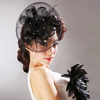 Tulle Feather Net Flowers Hats Headpiece Classical Feminine Style