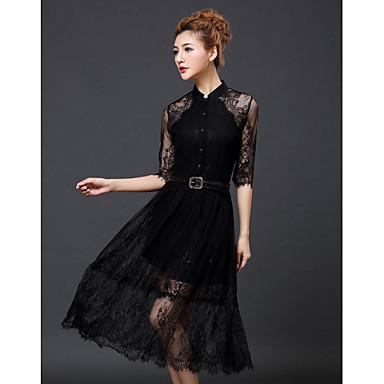 4eae916bd55 Γυναικεία Φόρεμα Δαντέλα/Κουμπί Όρθιος Γιακάς Μίντι Κοντομάνικο Δαντέλα
