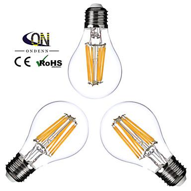ONDENN 3szt 2800-3200 lm E26/E27 Żarówka dekoracyjna LED A60(A19) 8 Diody lED COB Przysłonięcia Ciepła biel AC 110-130V AC 220-240V