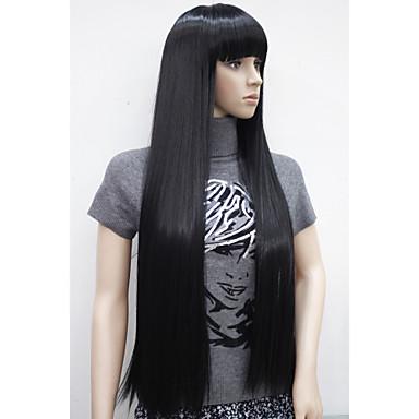 Парики из искусственных волос Кудрявый С чёлкой С Bangs плотность Без шапочки-основы Жен. Черный Искусственные волосы