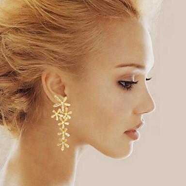 Rhinestone Drop Earrings Flower Gold, Silver