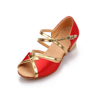 Women's/Kids' Dance Shoes Latin Satin Low Heel Black/Blue/Red/Leopard