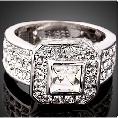 Kadın's Kristal Bildiri Yüzüğü - Kübik Zirconia, Simüle Elmas Lüks, Moda Tek Beden Ekran Rengi Uyumluluk Parti