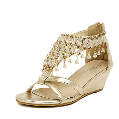 Damen Schuhe Kunstleder Sommer Plattform / Keilabsatz Kristall Silber / Gold / Keilabsätze