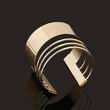 Retro Rome Style Geometry Opening Metal Golden Bracelets Jewelry Christmas Gifts