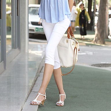 tanie Odzież ciążowa-Damskie Casual Rurki Spodnie - Solidne kolory Czysta Kolor Biały / Wyjściowe