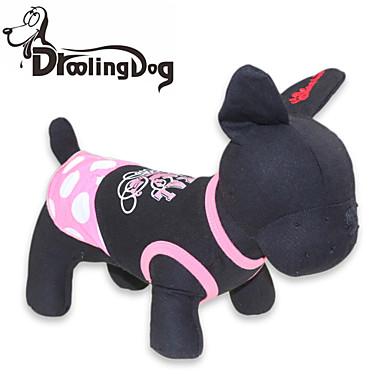 Kedi Köpek Elbiseler Köpek Giyimi Yuvarlak Noktalı Siyah/Pembe Pamuk Kostüm Evcil hayvanlar için