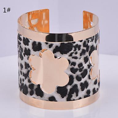 Femme Manchettes Bracelets Ajustable Ouvert Cuir Plaqué argent Plaqué or Alliage Bijoux Soirée Quotidien Décontracté