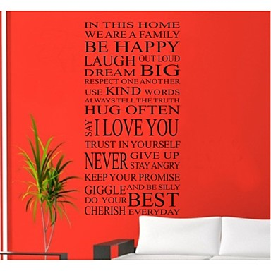 House Rules Happy Home Decoration Quote Wall Decal Zooyoo8052 Decorative Adesivo De Parede Removable Vinyl Wall Sticker
