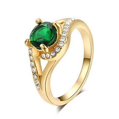 T&C Women's 18k Yellow Gold Plated 4 Prong with Shinning Green Austrian Crystal Engagement Ring