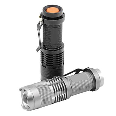 billige Lommelykter & campinglykter-SK68 LED Lommelygter LED Cree® XR-E Q5 1 emittere 1200 lm 1 lys tilstand Zoombare Vanntett Justerbart Fokus Multifunktion Svart Sølv Jern