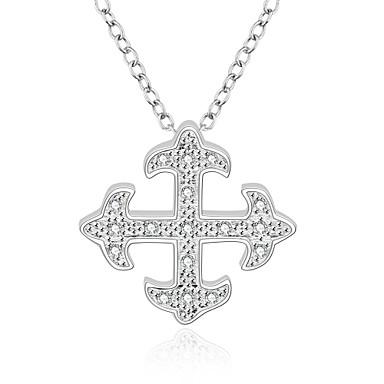 Damen Sterling Silber Zirkon Kubikzirkonia Silber Halsketten Anhängerketten Anhänger Statement Ketten - Modisch Kreuz Weiß Modische
