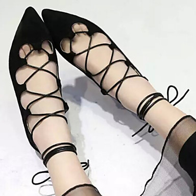 샌달 - 캐쥬얼 - 여성의 신발 - 뾰족한 앞코 - 레더렛 - 플랫 - 블랙 / 퍼플