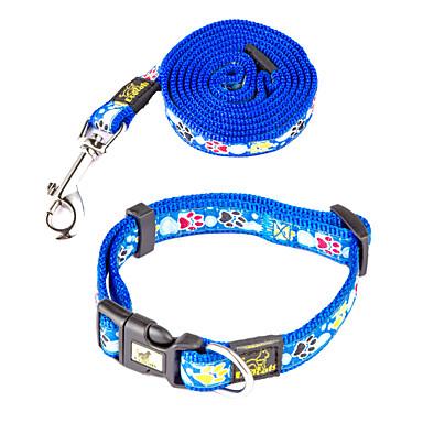 Hund Halsbänder Leinen Fußabdruck Nylon Purpur Rot Blau