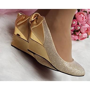 c8a33f44cb8a42 Femme Chaussures Similicuir Printemps   Eté   Automne Hauteur de semelle  compensée Noeud Doré   Mariage. abordables Talons ...