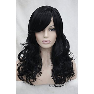 Συνθετικά μαλλιά Περούκες Σγουρά Με αφέλειες Χωρίς κάλυμμα Μαύρο
