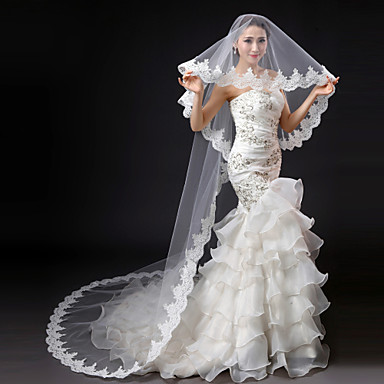 One-tier Lace Applique Edge Wedding Veil Cathedral Veils 53 Embroidery Lace Tulle