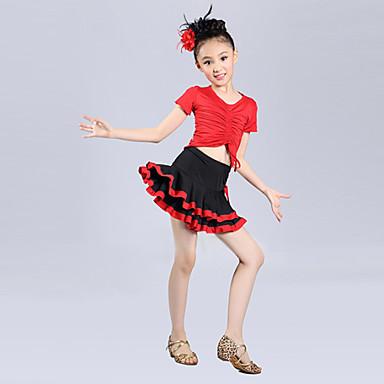 Λατινικοί Χοροί/Επίδοση - Σύνολα - Παιδικά (Μπλε/Φούξια/Κόκκινο , Πολυεστέρας , Με διαδοχικές σούρες)
