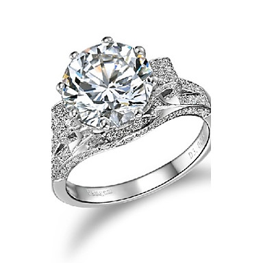 3Carat Gorgeous Noble Jewelry Sterling Silver Ring for Women Engagement Jewelry Micro Paved Wedding Ring Platinum Plated