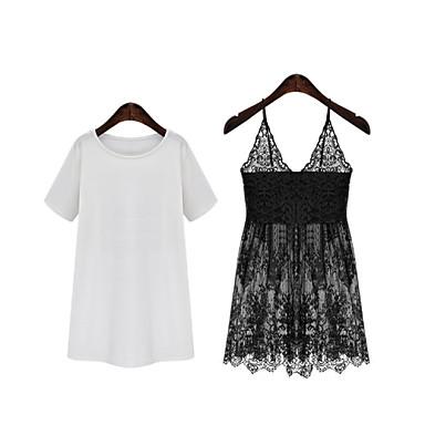 dámská sexy   neformální micro-elastický krátký rukáv nad kolena šaty  (krajka   bavlna f6b049b717