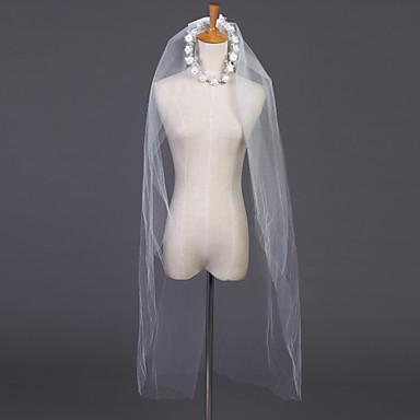 Kétkapcsos Vágott szegély Menyasszonyi fátyol Könyékig érő fátylak A Strasszkő 39,37 hüvelyk (100 cm) Tüll