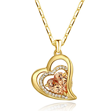 Damen Herz Kristall Diamantimitate Anhängerketten - Liebe Herz Herz Orange Rot Modische Halsketten Für Danke Valentinstag