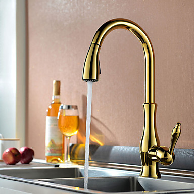 Traditional Pull-out/Pull-down Deck Mounted Pullout Spray Ceramic Valve One Hole Single Handle One Hole Ti-PVD , Kitchen faucet