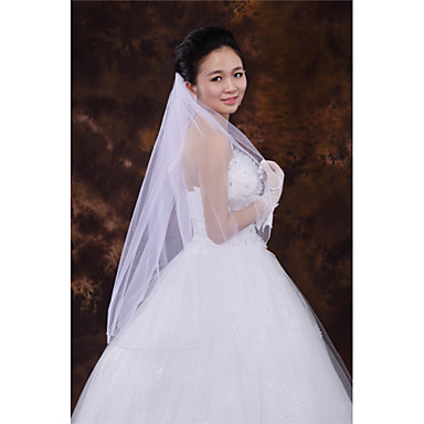 One-tier Beaded Edge Wedding Veil Fingertip Veils With Bead Tulle