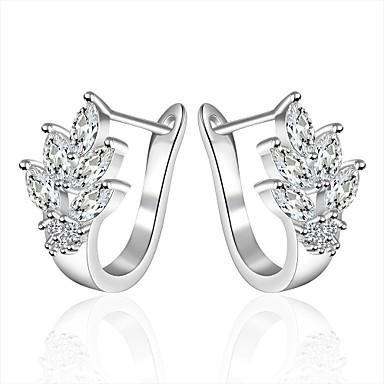 Mulheres Prata Chapeada Brincos Compridos - Luxo Prata Brincos Para Casamento Festa Diário Casual