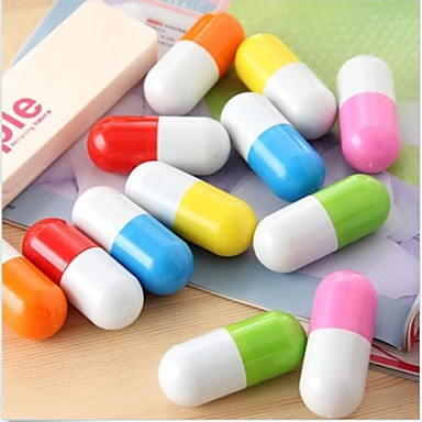 Cute Pill Capsule Ball Point Pen Novelty Telescopic Vitamin Ballpen