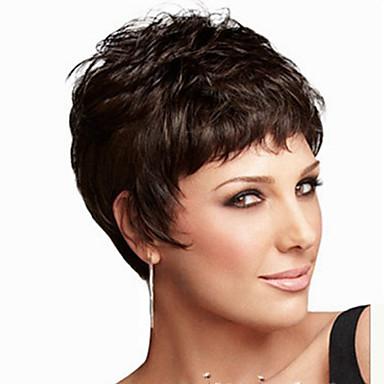 Syntetiske parykker Rett Lagvis frisyre / Kort bob Syntetisk hår Naturlig hårlinje Svart Parykk Dame Kort Cosplay-parykk / Kostyme Parykk