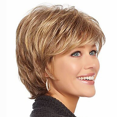 cheap Synthetic Wigs-Synthetic Wig Wavy Style With Bangs Capless Wig Strawberry Blonde Synthetic Hair Women's Highlighted / Balayage Hair Brown with Golden Highlights Wig Short Natural Wigs