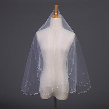 Πέπλα Γάμου Μίας Βαθμίδας Πέπλα ως τον αγκώνα Μύτη Μολυβιού 59,06 ίντσες (150εκ) Τούλι Λευκό / Ιβουάρ