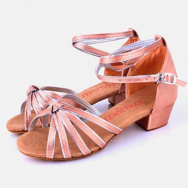 Latin Shoes Satin / Silk Sandal Buckle Chunky Heel Non Customizable Dance Shoes Camel / Indoor / Leather