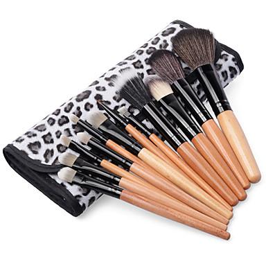 2015 Profesjonalny makijaż pędzla zestaw cieni do brwi 12szt kosmetycznych zestaw szczotka z lamparta mody worka przypadku