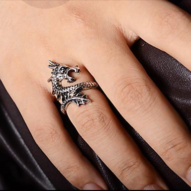 Herrn Statement-Ring Goldenschwarz Silberschwarz Aleación Drache Weihnachts Geschenke Party Alltag Normal Modeschmuck