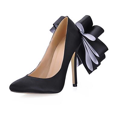 Mulheres Sapatos Seda Primavera / Outono Conforto Saltos Salto Agulha Dedo Apontado Preto / Rosa claro / Festas & Noite / Social