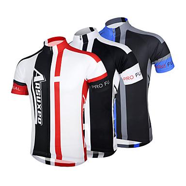 Arsuxeo Homme Manches Courtes Maillot de Cyclisme - Rouge Bleu Noir/Blanc Vélo Maillot, Séchage rapide, Design Anatomique, Respirable