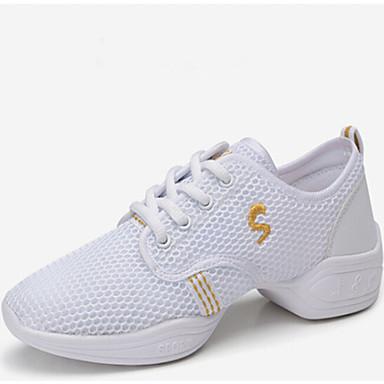 Kadın Dans Sneakerları Sentetik Spor Ayakkabı Dış Mekan Dantel Düşük Topuk Siyah Beyaz Fuşya 5cm Kişiselletirilmemiş