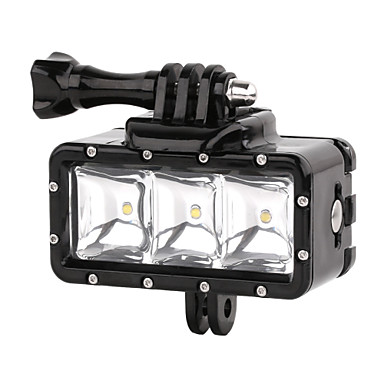 Suptig 30M 3-Modes LED Waterproof Video Fill Light Diving Lights Set for Gopro Hero4/3+/3/2 - Black